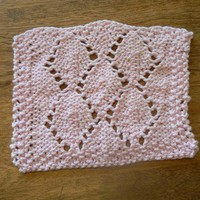 Hand Knit Pretty Pink Lovely Lace Leaves Mini Wash Cloth or Dish Cloth
