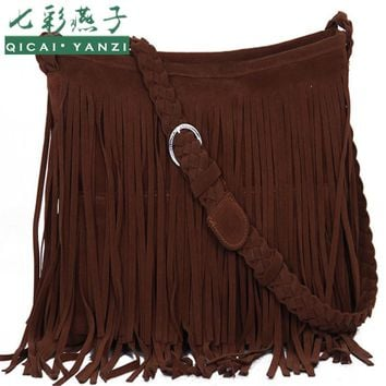 2017 New Women's Messenger Bags 6colors Fringe Shoulder Bag Handbag Ladies Tassel body Bag High Quality Free Shipping S620