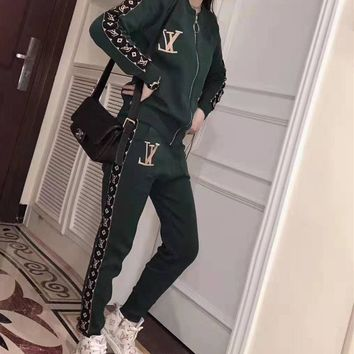 """""""LOUIS VUITTON"""" Woman Leisure Fashion Printing Zipper Spell Color Long Sleeve Trousers Two-Piece Set Casual Wear"""