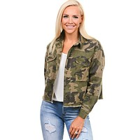 Frayed Cropped Camo Jacket