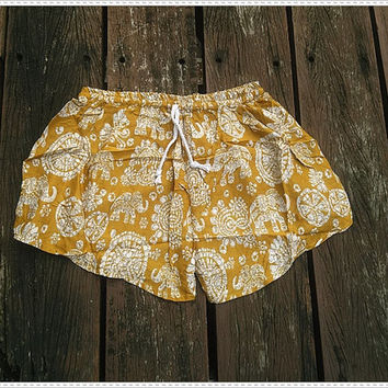 Yellow Shorts Elephant Printed Rayon Boho Hobo Beach Hippie Hipster Clothing Aztec Ethnic Bohemian Ikat Tank Handmade Colorful Unique Bikini