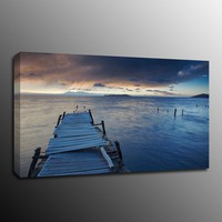 Wall Art Canvas Print Picture Wooden pier lake sunset water Painting Home Decor (Frame:No)
