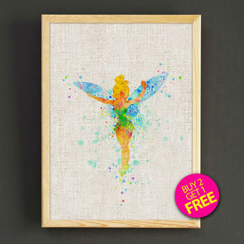 Tinker Bell Watercolor Art Print Disney Peter Pan Poster House Wear Wall Decor Gift Linen Print - Disney - Buy 2 Get 1 FREE - 100s2g