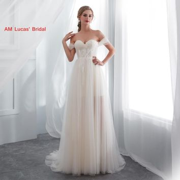 Long Sexy Wedding Dresses 2019 New Lace Up Sweep Train Bridal Party Gowns Fairytale Princess Dress Unique Design