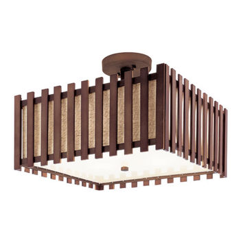 Trans Globe Lighting 70551 Walnut 16-Inch Square Semi-Flush Mount with White Frosted Diffuser / Burlap Shade Lining