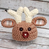 Deer Buck Hat with Big Brown Nose.  Fun Fall Photography prop Newborn photo prop Newborn - 6 months available
