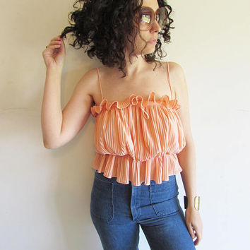 Vintage 70s Peach Disco Spaghetti Strap Shiney Ruffle Crop Top Blouse
