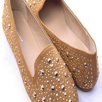 TAN FAUX SUEDE STUDDED ROUND CLOSED TOE BALLET LOAFER FLATS