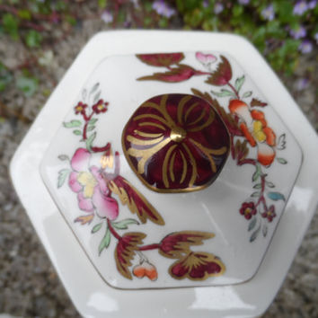 Antique Mason's ironstone Mandalay red tea caddy - Harrod's - 1920's Mason's china - vintage red tea caddy porcelain