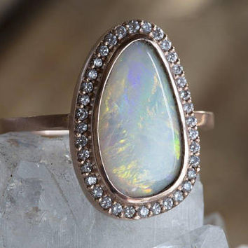 One of a Kind Natural Australian Opal + Diamond Ring with Pavé Halo