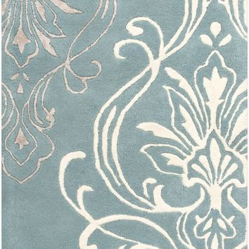Surya Modern Classics CAN2011 Blue/Neutral Medallion and Damask Area Rug