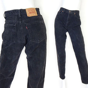 """Vintage 90s Black Levi's 550 High Waisted Jeans - Size 7 - Women's USA Made Relaxed Fit Tapered Leg Mom Jeans - 28"""" Waist"""