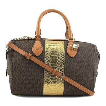ONETOW Michael Kors Grayson Large Convertible Satchel - Brown - 30F7GGYS3B-200