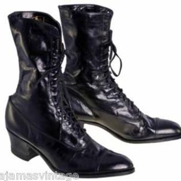 Antique Leather Boots Black Victorian Kid  Walk Over NIB #3 Womens Size EU37 US 6.5