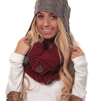 Red Chunky Knit Infinity Scarf with Buttons