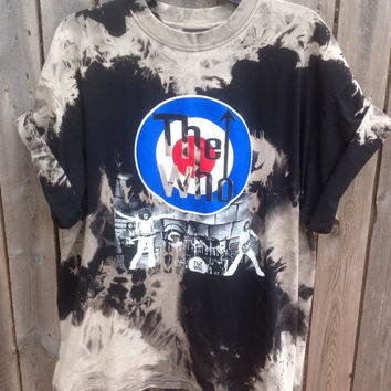 Bleached, tie dyed unisex xlarge the Who one of a kind t shirt