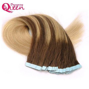 LMF78W #4/18/4/18 Color Tape In Human Hair Extensions Brazilian Straight Hair Skin Weft  Remy Hair 50g 20pcs/Set  Dreaming Queen Hair