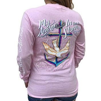 Southern Attitude Preppy Anchor In The Storm Pink Long Sleeve T-Shirt