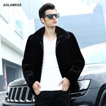 Aolamegs real wool fur coat men fashion black wool fur jacket outwear winter warm overcoat genuine natural mink fur collar L-4XL