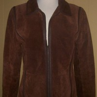 Sharp Womens BROWN SUEDE Jacket Coat LEATHER trim BY Bagatelle sz-med