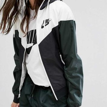 Nike Newest Fashion Women Men Casual Print Stitching Color Hooded Zipper Cardigan Jacket Coat Windbreaker I/A