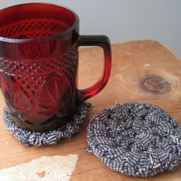 Round Knitted Coasters Circular Black Cream Farmhouse Rustic Mug Rugs Mats Upcycled T Shirts (set of 2) -- US Shipping Included