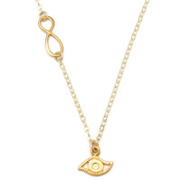 Gold Evil Eye & Infinity Charm Necklace