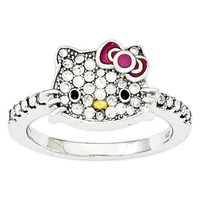 Hello Kitty® Fine Jewelry Sterling Silver and Crystal Red Bow Ladies' Ring