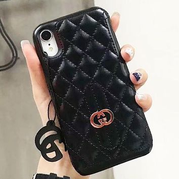 GUCCI New fashion leather couple protective cover personality phone case Black