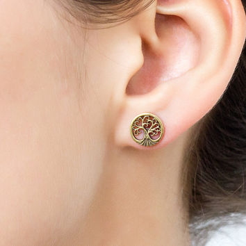 7408a0853 Umanativedesign on Etsy $5.95. Tribal tree stud earrings. stud earrings.  tribal stud earrings. tree earrings. tree