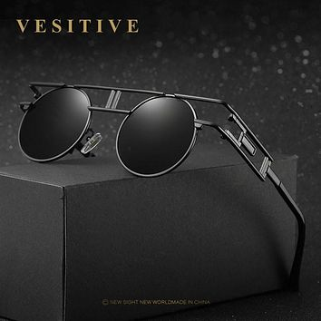Unique Gothic Brand design Polarized Sunglasses Men's Round Glasses Leisure Goggles Women Steampunk Eyewear Retro Gafas De Sol