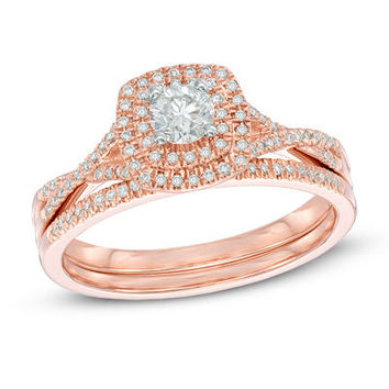 1/2 CT. T.W. Diamond Double Frame Bridal Set in 14K Rose Gold - View All Rings - Zales