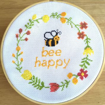 Modern Cross Stitch Pattern, Quote Cross Stitch Pattern, Bee Happy