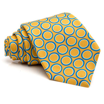 Kiton Yellow with Blue Dot Tie