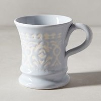 Brushed Filigree Mug by Anthropologie in Sky Size: Mug Mugs