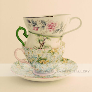 Antique Pretty Tea Cup Photography 8x10 Wall Print - A Collection of Tea Cups