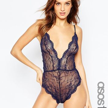 ASOS TALL Brandy Lace High Leg Body at asos.com