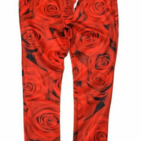All Red Roses High quality  jogger pants