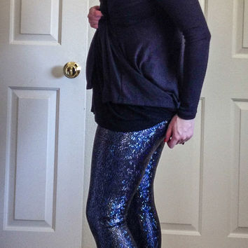 Charcoal Shattered Glass Holographic Leggings