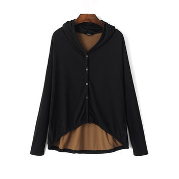 European style fashion autumn back cutout pattern skull long-sleeved jacket with hood  for women