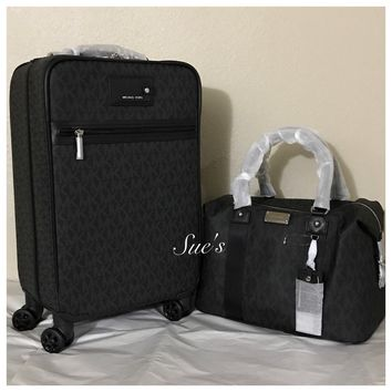 Authentic NWT Michael Kors Travel Trolley Luggage &  Large Weekender Bag- Black