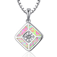 Sterling Silver Cross Centered Rhombus W. Pink Fire Opal Pendant Necklace
