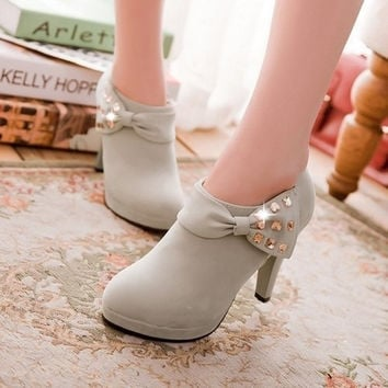 women high heels platform pumps bowknot ankle boots [8401355399]