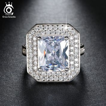 ORSA JEWELS Big Size 6 Ct Cushion Cut AAA Austrian Cubic Zirconia Wedding Ring Silver Color Engagement Rings for Women OR103