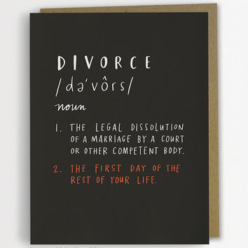 Definition of Divorce Card, Sympathy Card, Encouragement Card, Support Card / No. 231-C