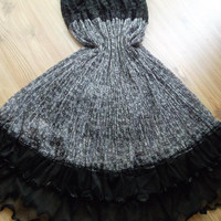 Grey -Black - Maxi Skirt - Tulle, chiffon and lace combinatio.  Dress - Very chic skirt.....Size: S -M