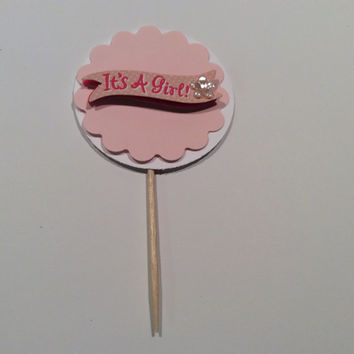 "Scalloped circle ""It's a Girl"" cupcake topper. Baby Shower Partypicks, Party decor, Baby shower; Cupcake toppers. 12 per order"