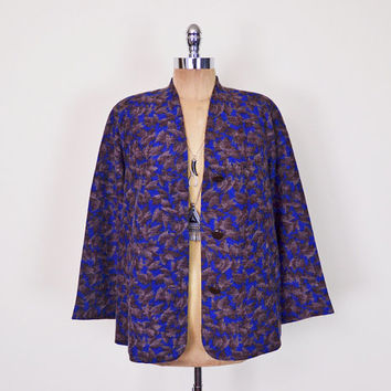 Vintage 70s 80s Blue & Brown Fall Leaf Print Blazer Jacket Coat Fuzzy Mohair Oversize Blazer Strong Shoulder Pad Blazer Boho Women L Large