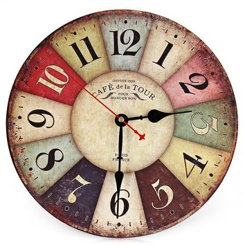 Round Colorful Vintage Rustic Decorative Antique Wooden Home Wall Clock