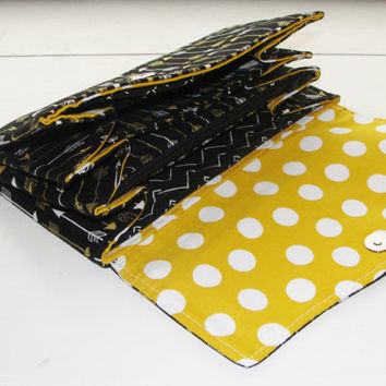 Necessary Clutch Wallet, RTS, Great Handmade Gift, Black White and Shiny Gold Arrows with Yellow lining fabric, NCW, Card Slots, iPhone 6
